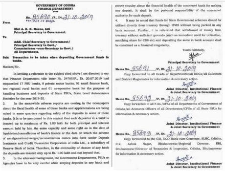 Finance Secretary Odisha issued an advisory to all state department.