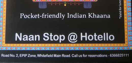 Naan Stop, Bangaluru Whitefield address.