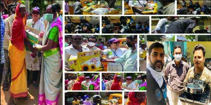 हैदराबाद में Ks-Helping-Hands-Charitable-Trust व बेंगलुरु में उत्तराखंड संस्कृति परिषद लोगो की मदद करते हुए